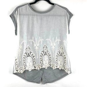 RUE 21 White Lace& Gray Short Sleeve Top - Size S